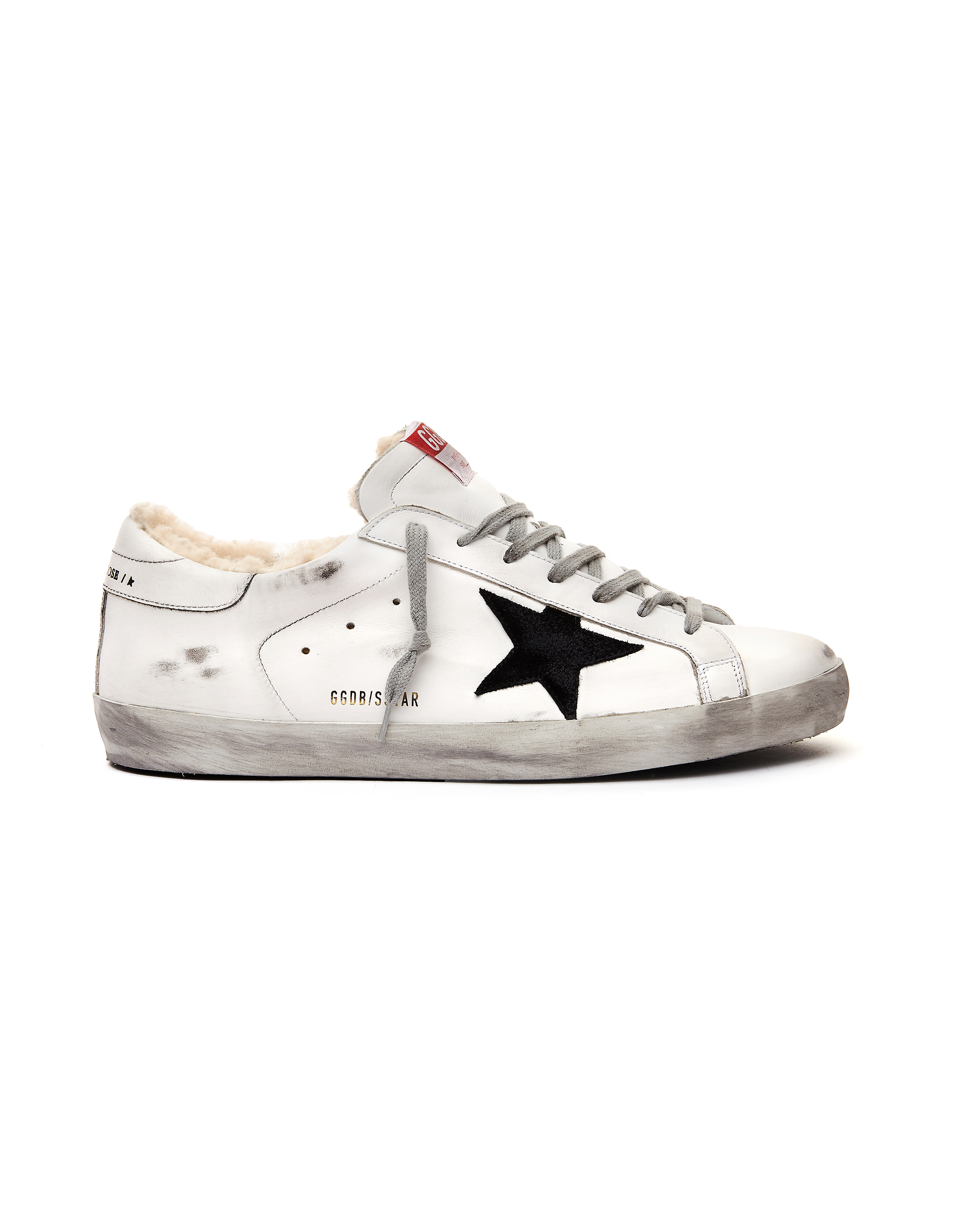 Golden Goose White Leather Fur Superstar Sneakers