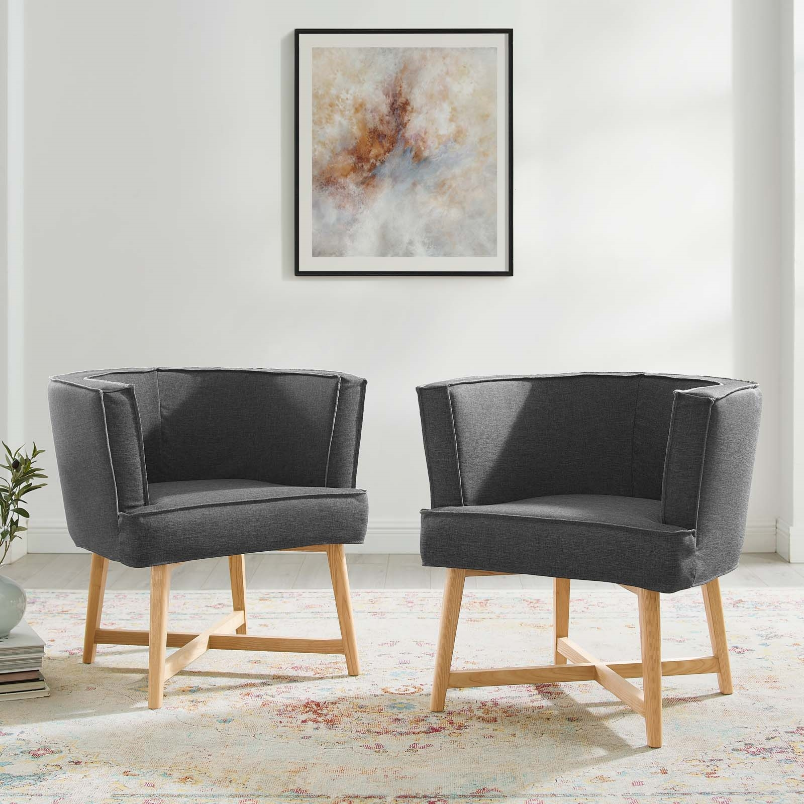 Anders Accent Chair Upholstered Fabric Set of 2 in Gray