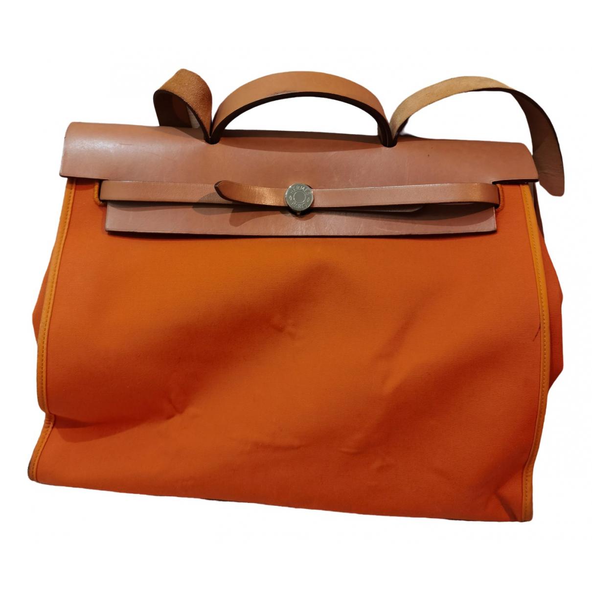 Hermes - Sac a main Herbag pour femme en cuir - orange
