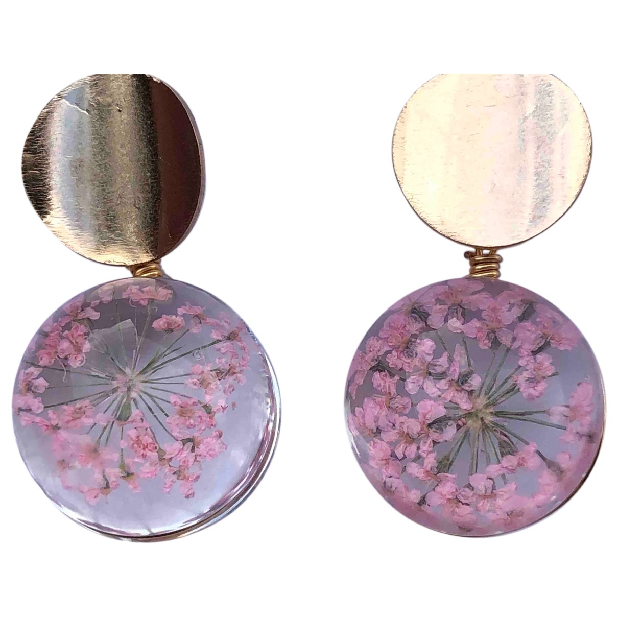 Non Signe / Unsigned Motifs Floraux OhrRing in  Rosa Glas