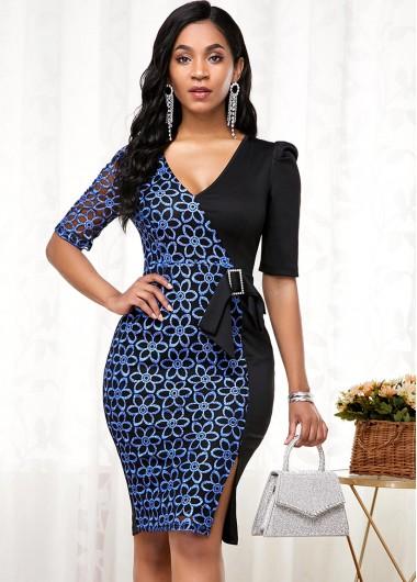 Cocktail Party Dress Side Slit Lace Panel Buckle Detail Dress - S