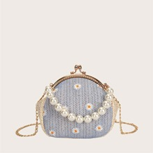 Faux Pearl Handle Daisy Floral Woven Satchel Bag