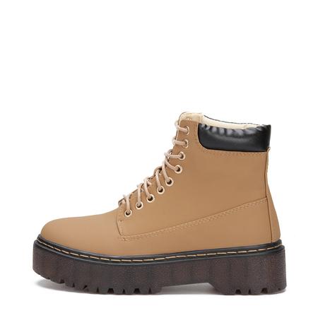 Yoins Brown Lace-up Design Gum Sole Short Boots