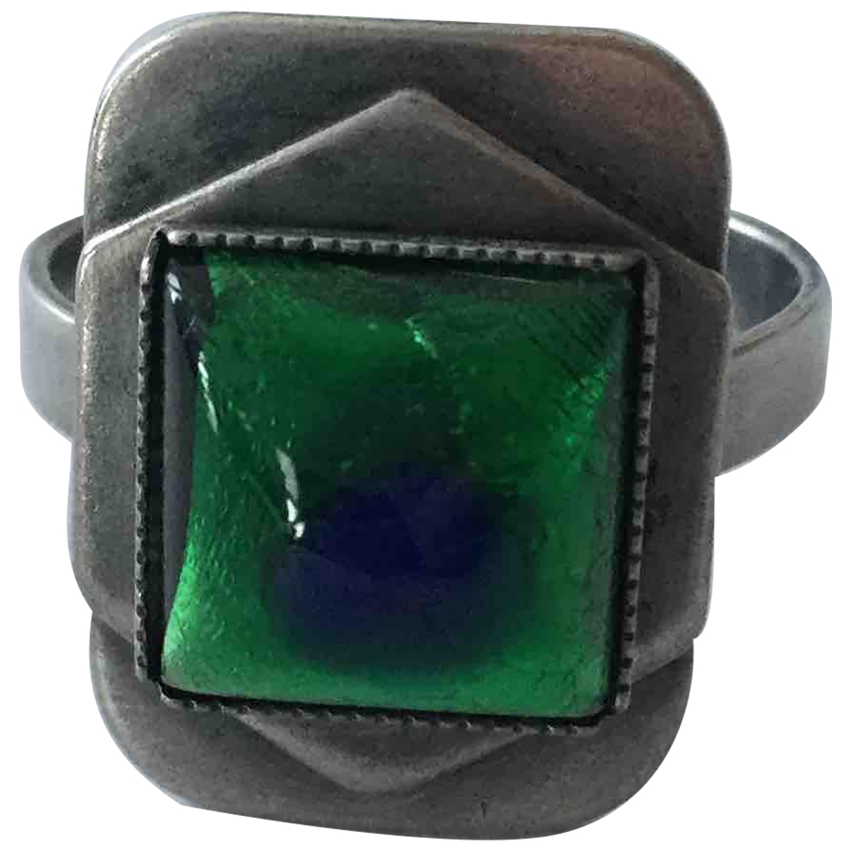 Non Signé / Unsigned Motifs Ethniques Green Metal ring for Women 56 EU