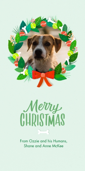 Christmas Photo Cards Flat Matte Photo Paper Cards with Envelopes, 4x8, Card & Stationery -Dog Bone Christmas Wreath Photo Card by Hallmark