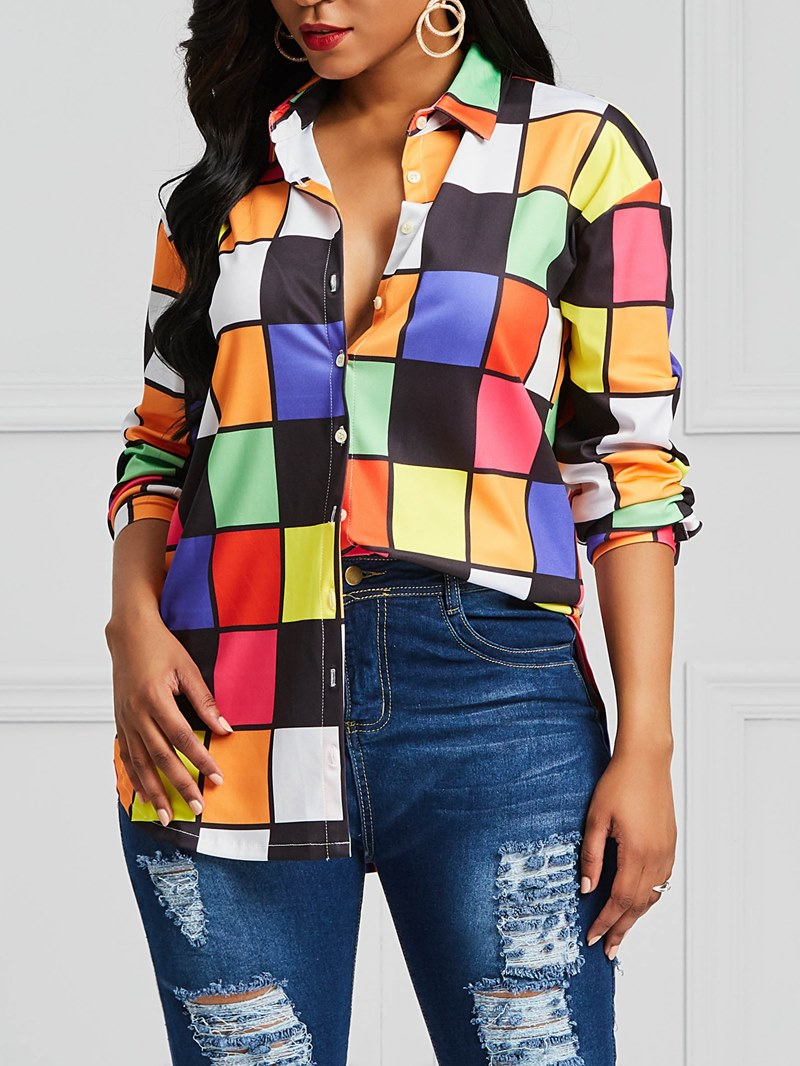 Ericdress Plaid Color Block Loose Womens Shirt