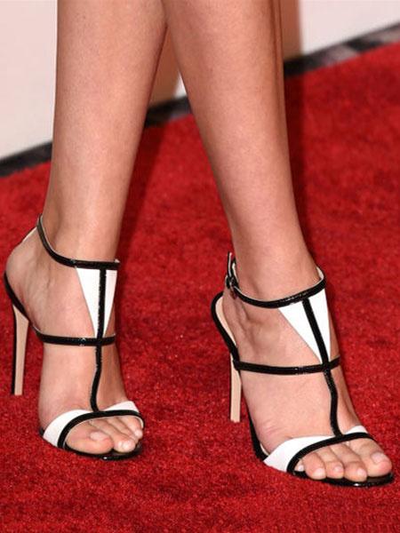 Milanoo High Heel Sandals Womens T-strap Criss Cross Open Toe Stiletto Heel Sandals