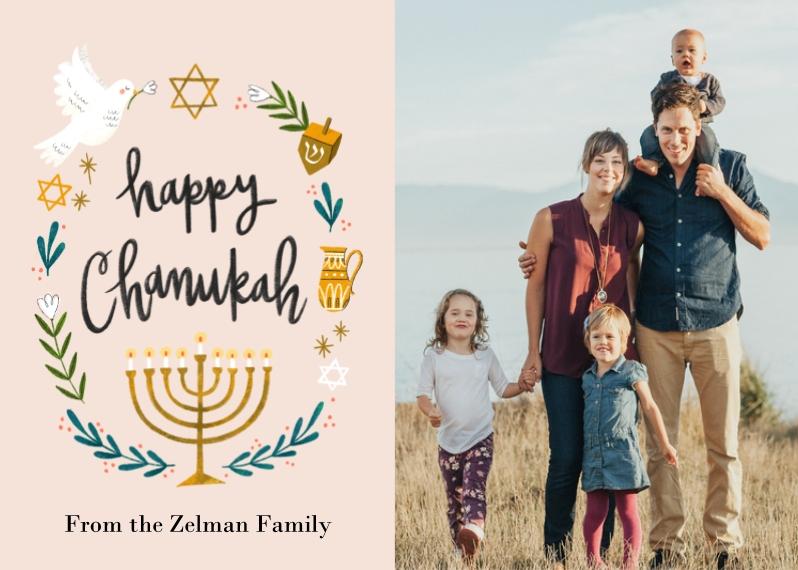 Hanukkah Photo Cards Mail-for-Me Premium 5x7 Folded Card , Card & Stationery -Handpainted Chanukah