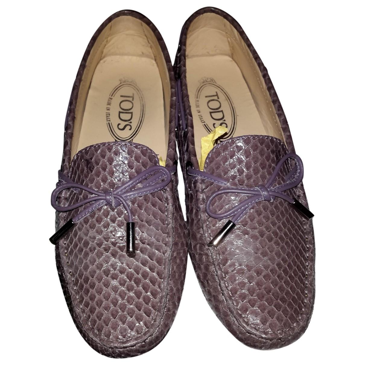 Tod's Gommino Purple Python Flats for Women 37 EU
