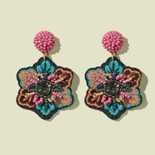 Flower Embroidery Bead Drop Earrings