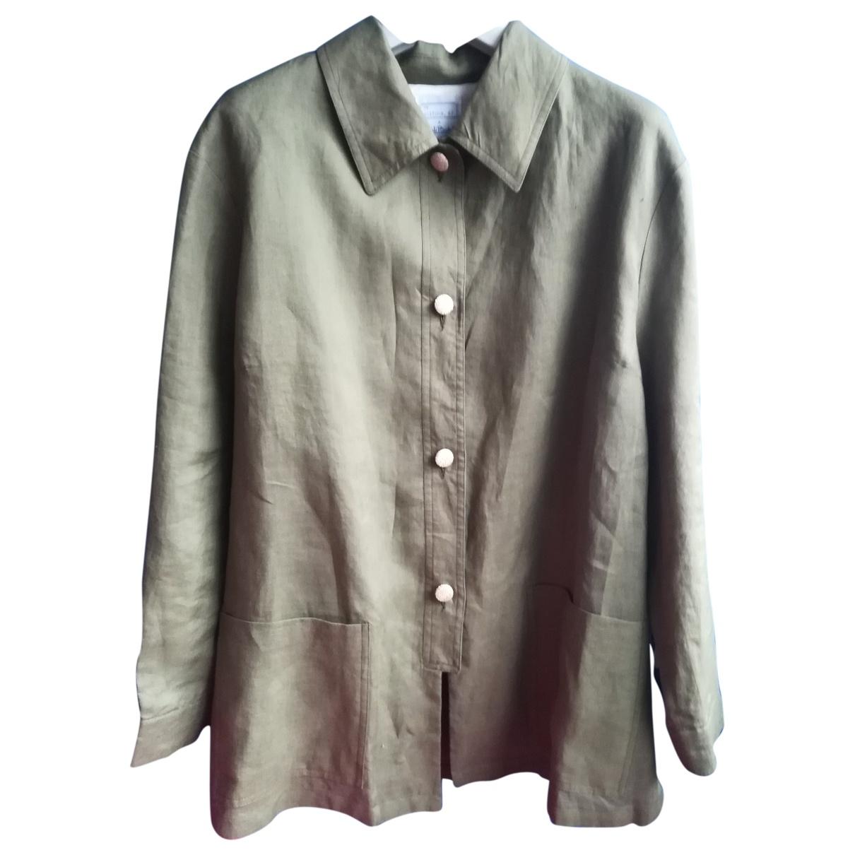 Non Signé / Unsigned \N Khaki Linen jacket for Women 50-52 IT