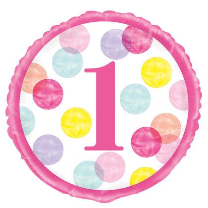 Ballon rond en aluminium pour le 1er anniversaire de points roses 18