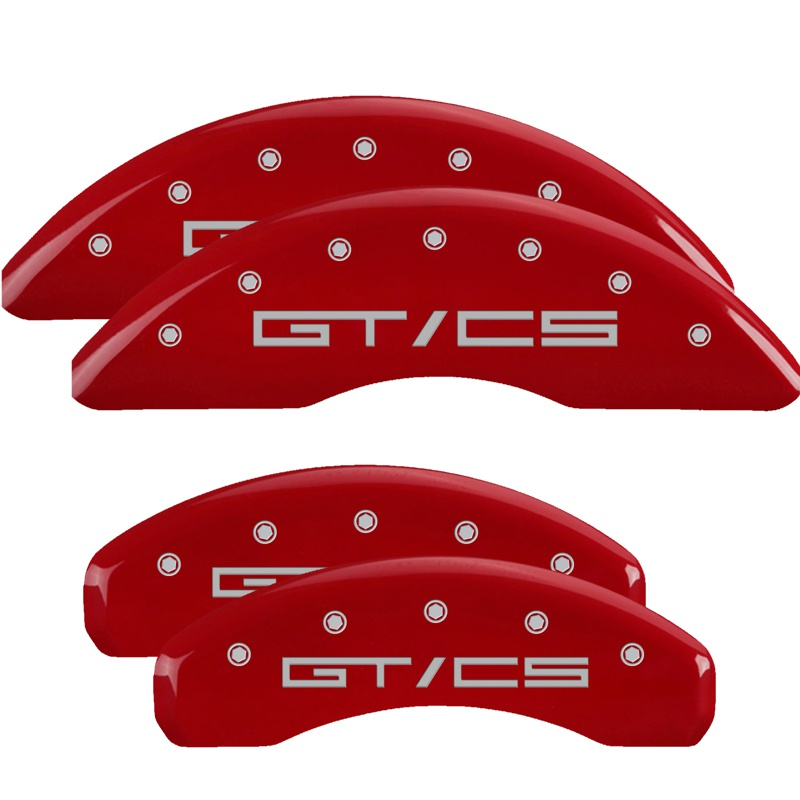 MGP Caliper Covers 10202SGTCRD Set of 4: Red finish, Silver Mustang GT/CS Ford Mustang 2020