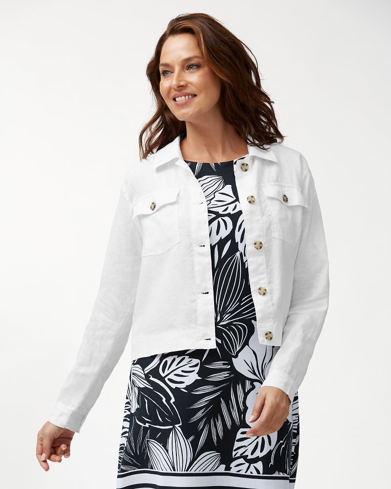 Two Palms Cropped Linen Jacket