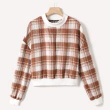 Plaid Print Drop Shoulder Sweatshirt