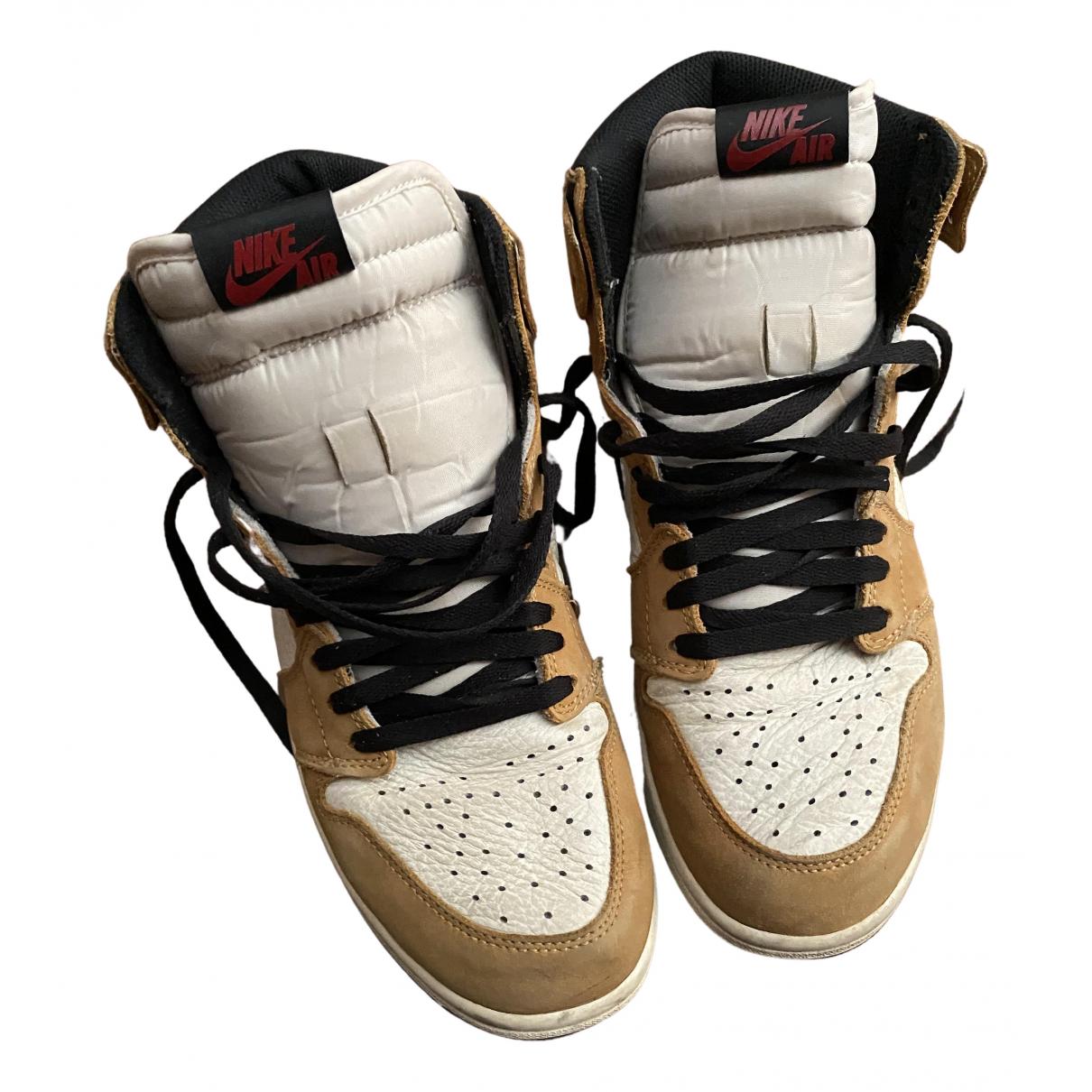 Jordan - Baskets Air Jordan 1  pour homme en cuir - beige