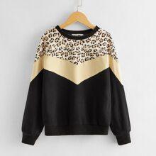 Pullover mit Leopard Muster und Chevron Muster