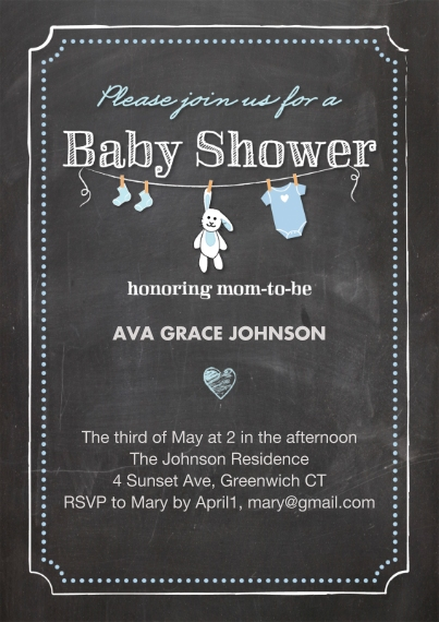 Baby Shower Invitations 5x7 Cards, Premium Cardstock 120lb with Scalloped Corners, Card & Stationery -Baby ShowerChalkboard Heart