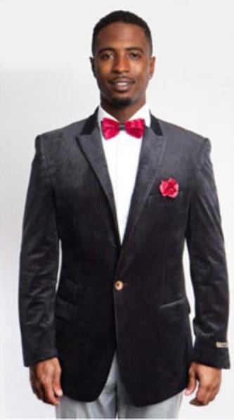 Men's Black Fashion Peak Lapel Velvet Sport Coat