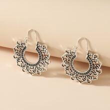 Hollow Out Flower Hoop Earrings