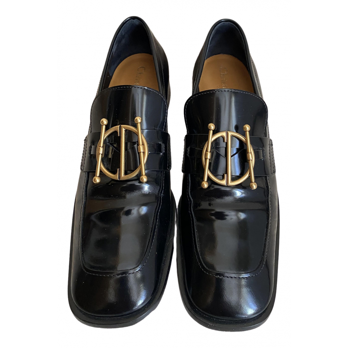 Dior DiorDirection Black Leather Flats for Women 37.5 IT