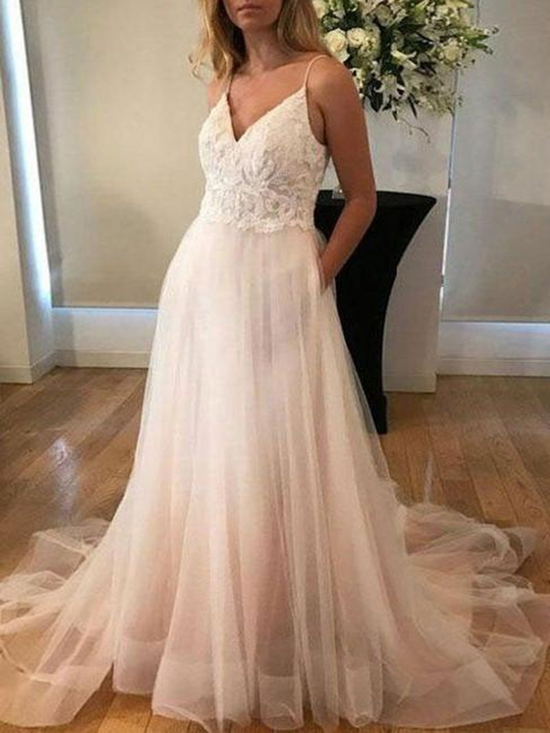 Ericdress Button Spaghetti Straps Appliques Wedding Dress