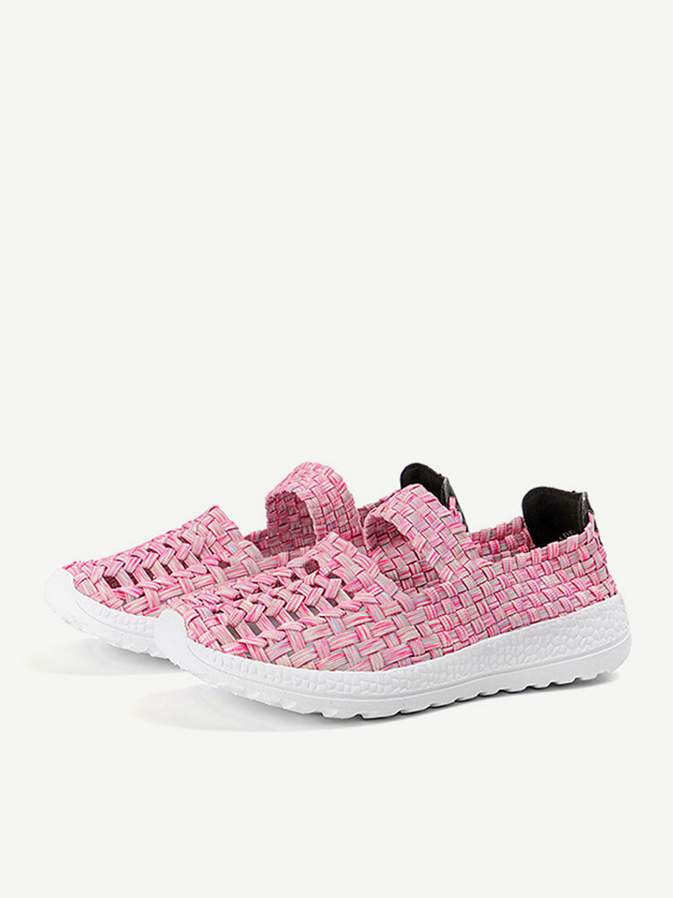 Knitted Colorful Casual Elastic Shoes For Women