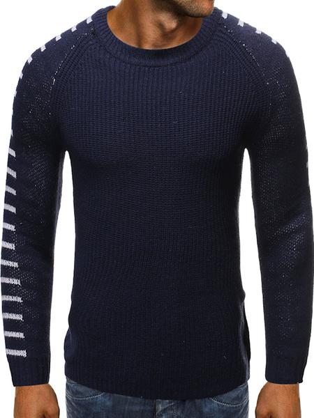 Milanoo Men\\s Sweaters Jewel Neck Winter Pullover Knitwear