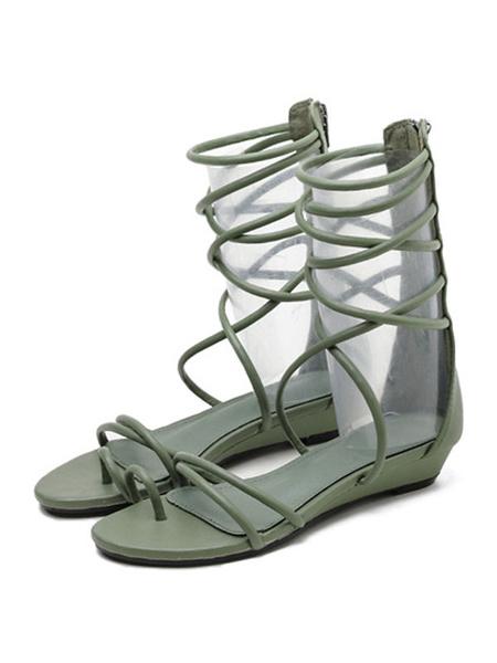 Milanoo Gladiator negro sandalias Strappy plana sandalia botas para mujeres