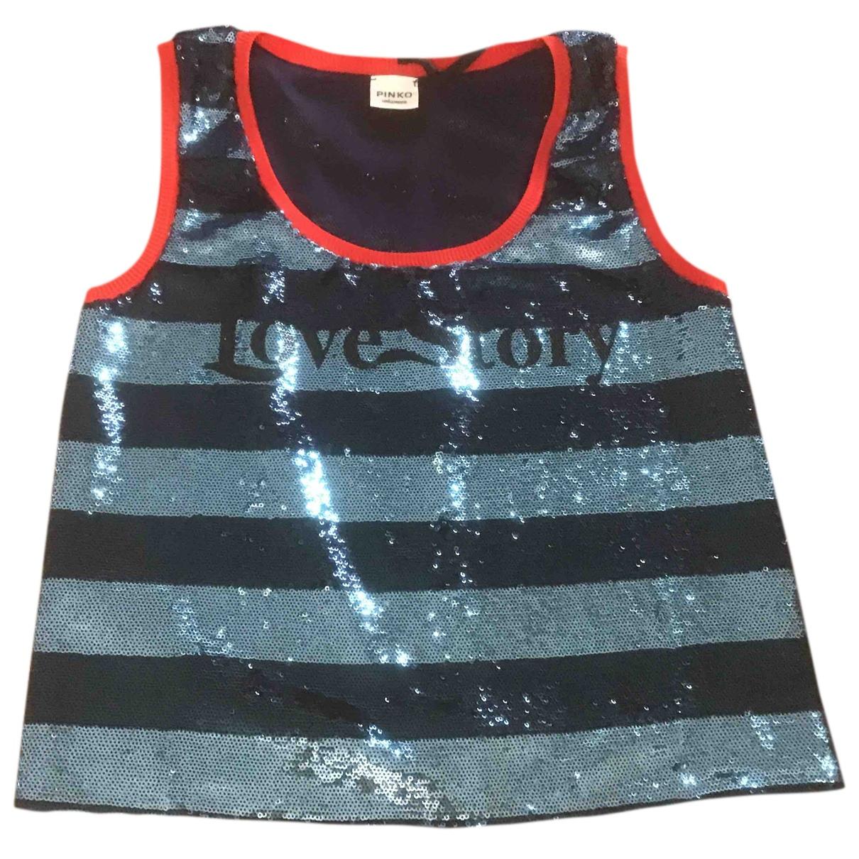 Pinko N Blue Glitter  top for Women 40 IT