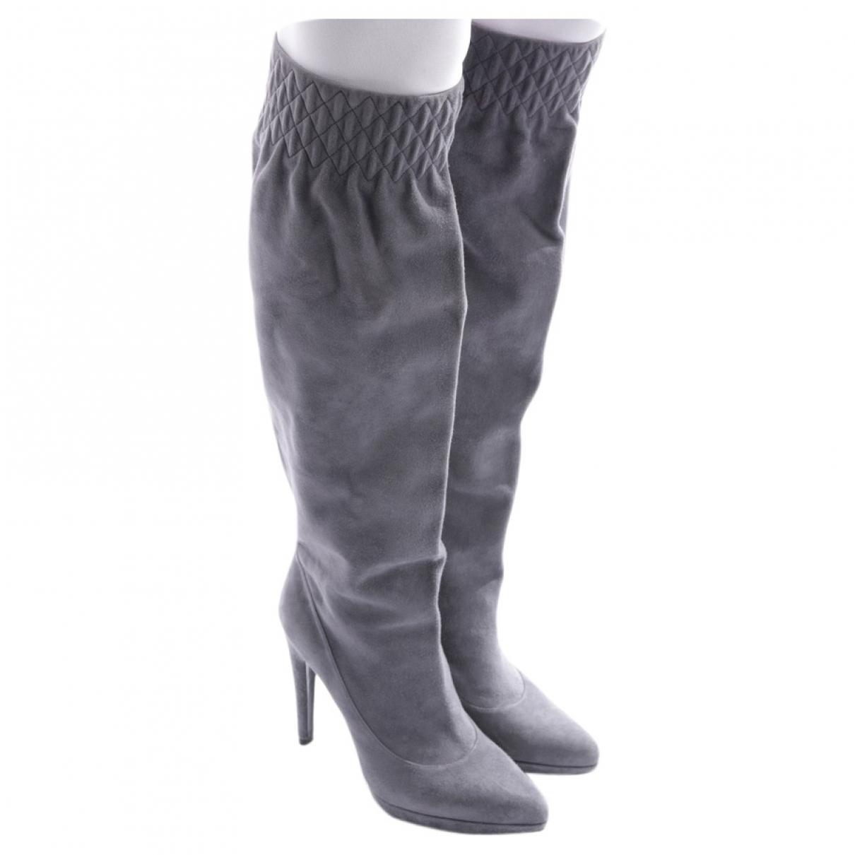 Casadei - Bottes   pour femme en cuir - gris