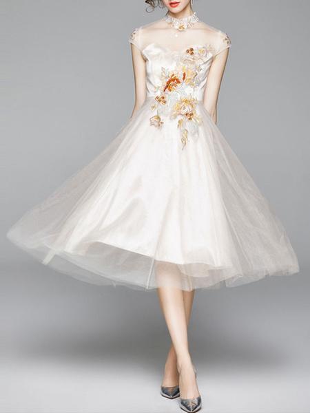 Milanoo Vestidos de fiesta para mujer Vestido semiformal en capas de manga corta con cuello alto blanco
