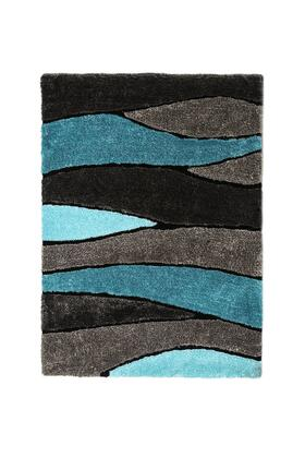 BM181128 Contemporary Style Polyester Area Rug With cotton Backing  Blue and