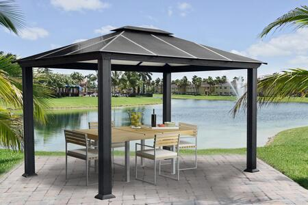 Santa Monica GZ3 11' x 13' Hard Top Gazebo with Rust Free Aluminum Structure  Powder Coated Frame and Twin Layer Aluminum