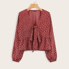Ditsy Floral Knot Front Ruffle Hem Blouse