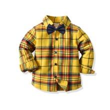 Camisas para niño pequeño Lazo A cuadros Preppy