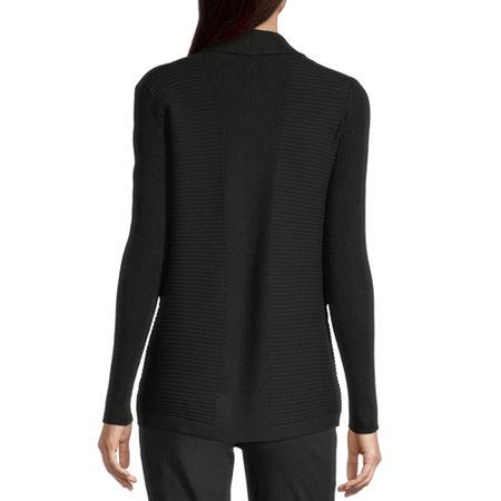 Liz Claiborne Womens Ribbed Open Cardigan, Petite Large , Black