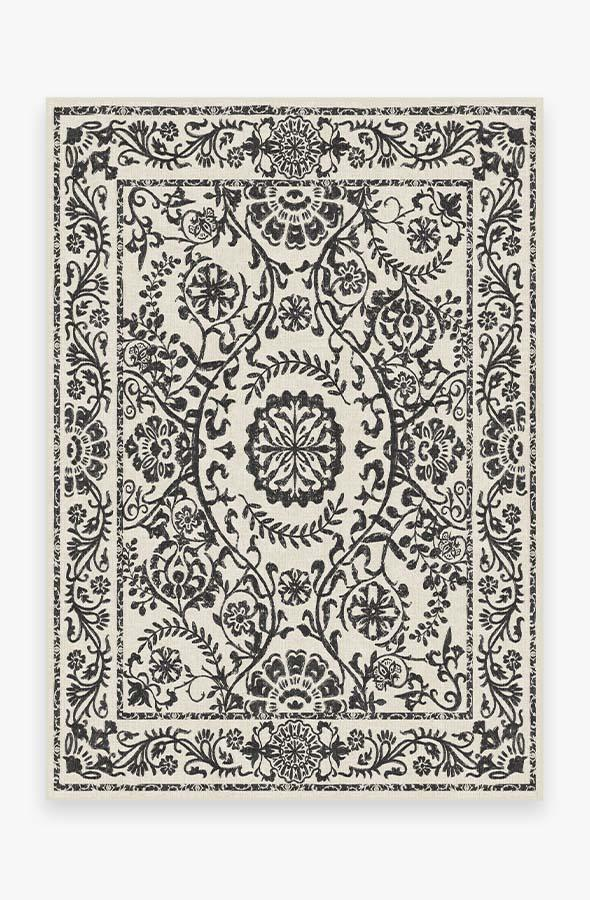 Washable Rug Cover & Pad | Delphina Black & White Rug | Stain-Resistant | Ruggable | 5x7