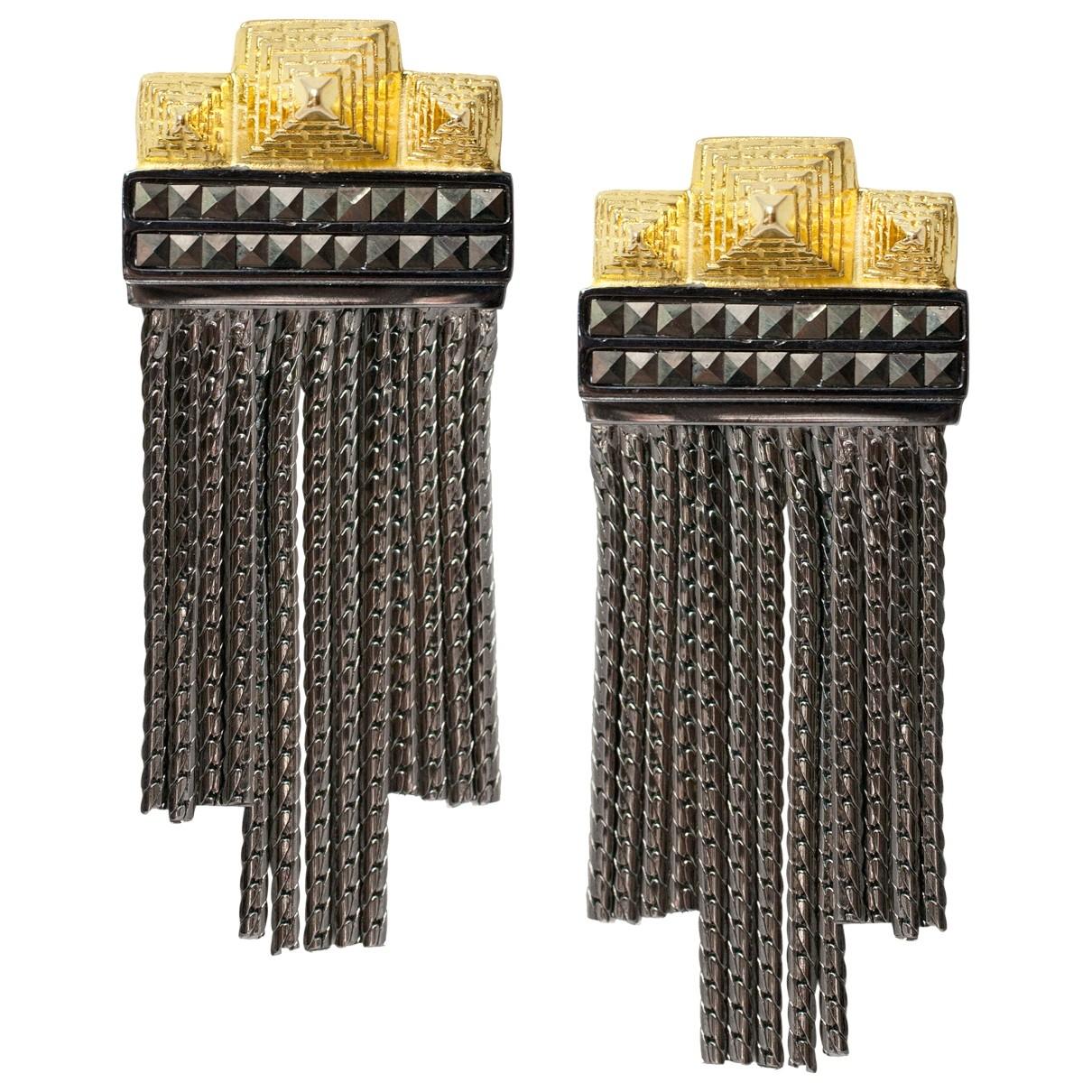 - Boucles doreilles   pour femme en argent - noir