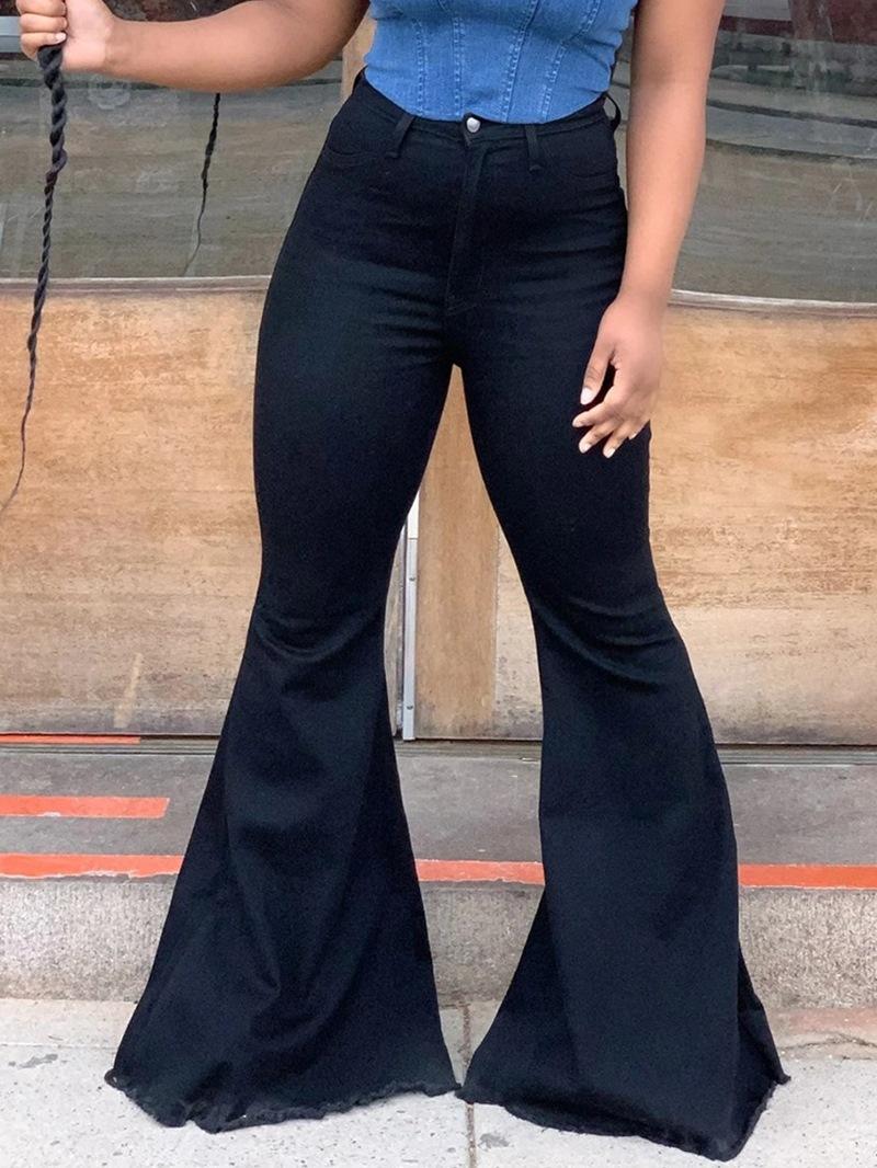 Ericdress Plain Washable Bellbottoms Loose Zipper Jeans