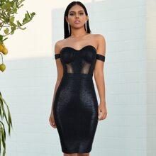 Bustier Schulterfreies Kleid mit Netzeinsatz