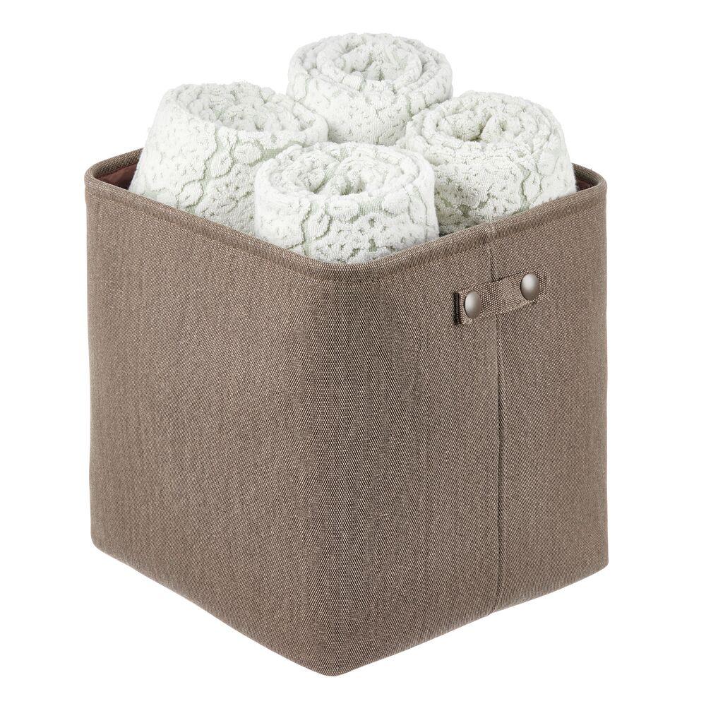 Fabric Bathroom Storage Bin, Coated Interior in Espresso Brown, 13