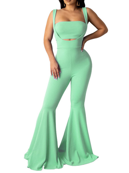 Milanoo Two Piece Sets Rose Crop Top With Flared Body-conscious Layered Trousers