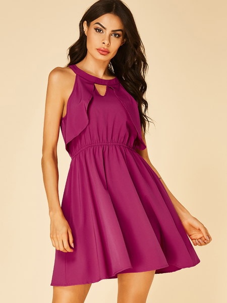 YOINS Purple Cut Out Halter Ruffle Trim Sleeveless Dress