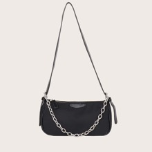 Minimalist Baguette Bag With Chain Handle
