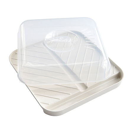 Nordicware Medium Slanted Bacon Tray with Lid, One Size , White