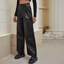 Buckle Detail Cut-out PU Leather Wide Leg Pants