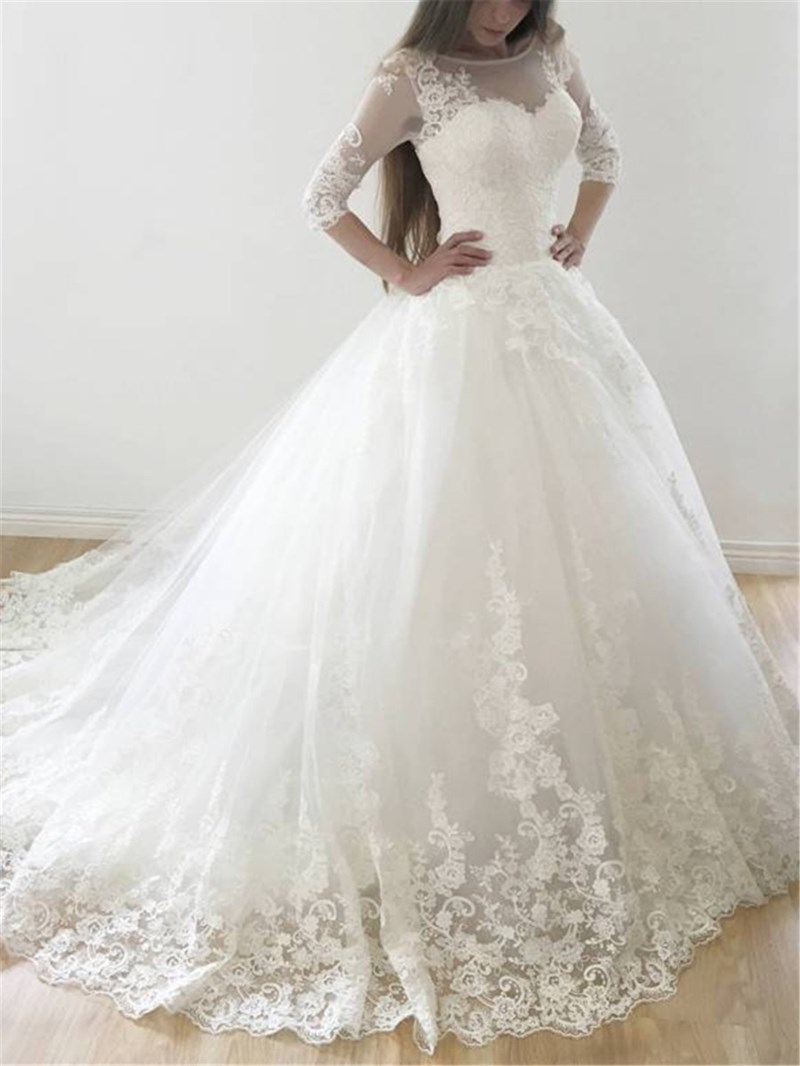 Ericdress Half Sleeves Appliques Ball Gown Wedding Dress