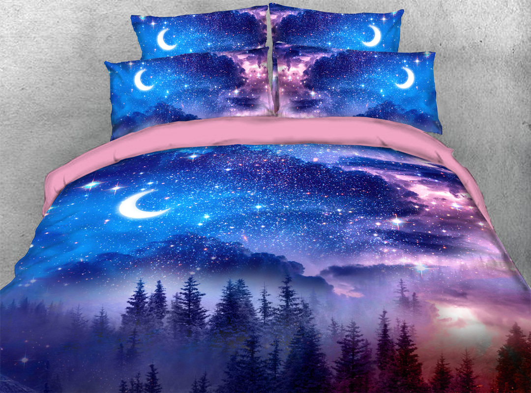 3D Trees at Starry Night 5-Piece Lightweight Galaxy Comforter Set Zipper Ties Colorfast/Wear-resistant/Skin-friendly Bedding Sets