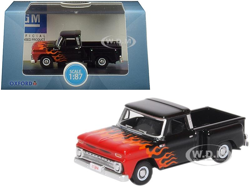 1965 Chevrolet C10 Stepside Pickup Truck Black with Flames
